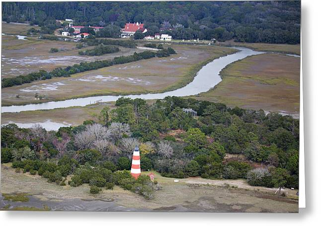 Swampland Greeting Cards - Aerial Near Jekyll Island Greeting Card by Betsy A  Cutler