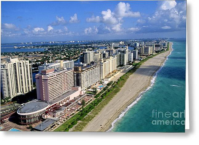 Us Destinations Greeting Cards - Aerial View Of South Beach, Miami Greeting Card by Adam Sylvester