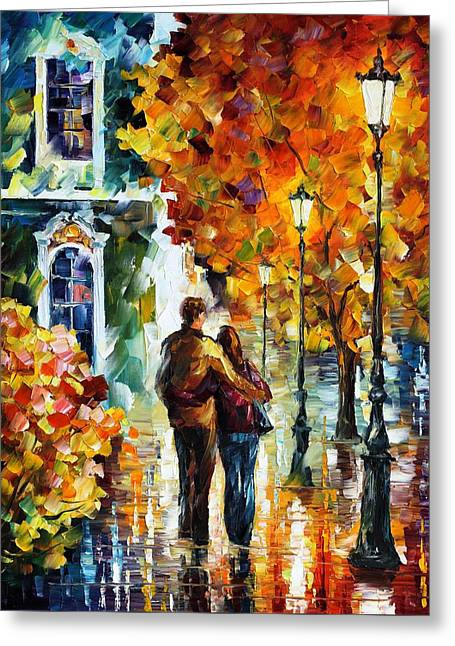 Owner Greeting Cards - After The Date Greeting Card by Leonid Afremov