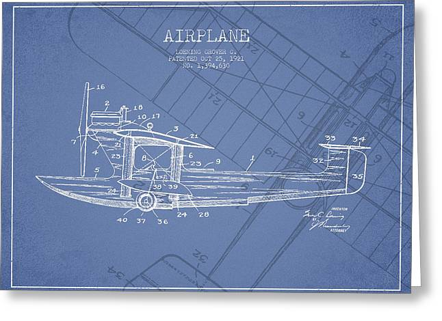 Airplane Greeting Cards - Airplane Patent Drawing from 1921 Greeting Card by Aged Pixel