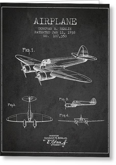 Airplane Greeting Cards - Airplane patent Drawing from 1938 Greeting Card by Aged Pixel