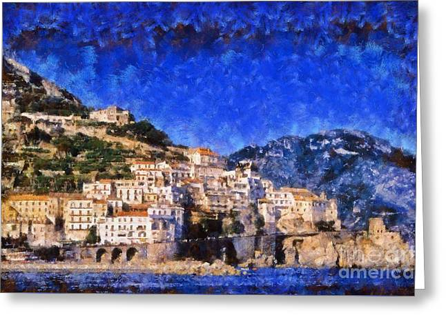 Village Greeting Cards - Amalfi town in Italy Greeting Card by George Atsametakis
