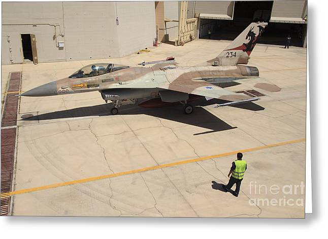 Foreign Military Greeting Cards - An F-16a Netz Of The Israeli Air Force Greeting Card by Ofer Zidon