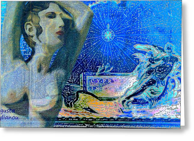 Old Map Digital Greeting Cards - Ancient Cyprus Map and Aphrodite Greeting Card by Augusta Stylianou