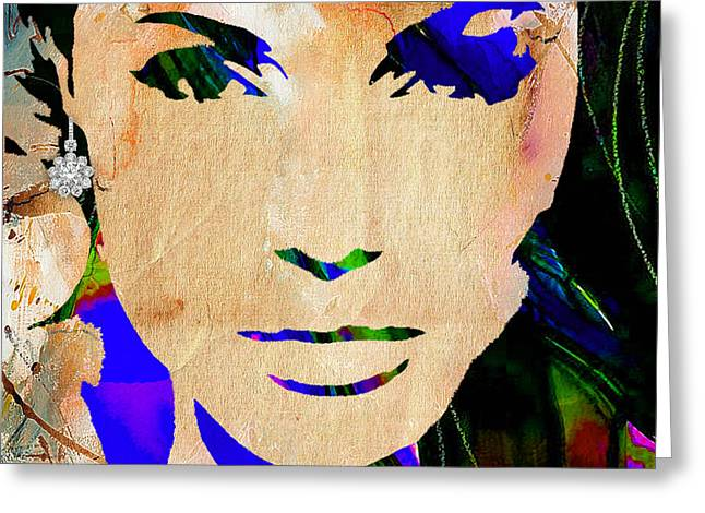 Actresses Greeting Cards - Angelina Jolie Diamond Collection Greeting Card by Marvin Blaine