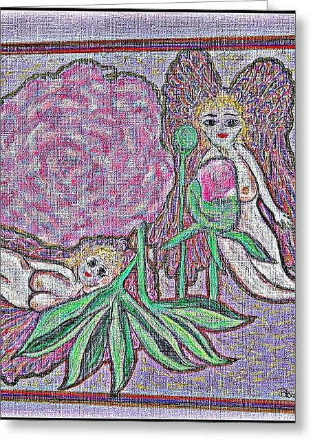 Nude Our Lady Virgin Mary Pray Jesus God Angels Heaven Love Faith Sadness Blessed Peace Cross Crown Crucifixion Compassion Loss Contentment Trails Fortitude Hope Death Afterlife Flowers Garden Moon Star Greeting Cards - Angels in The Peony Roses  Greeting Card by Lyn Blore Dufty