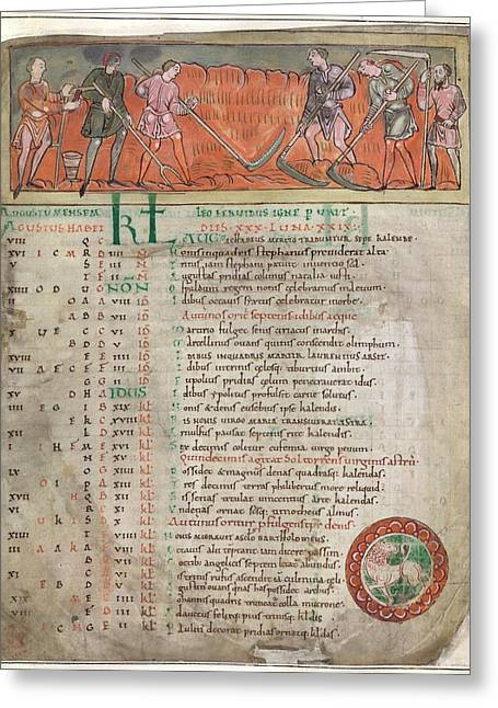 Anglo-saxon Calendar Greeting Card by British Library