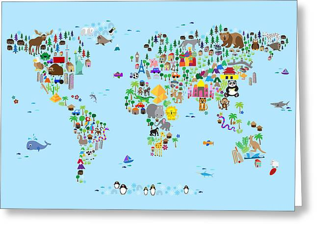 Kids Greeting Cards - Animal Map of the World for children and kids Greeting Card by Michael Tompsett
