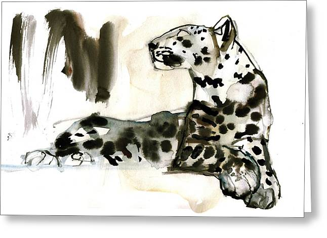 Seated Greeting Cards - Arabian Leopard Greeting Card by Mark Adlington