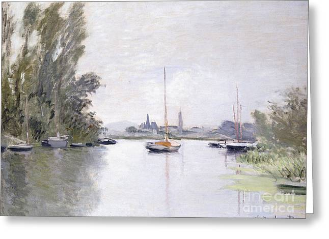 Boats At Dock Greeting Cards - Argenteuil Greeting Card by Claude Monet
