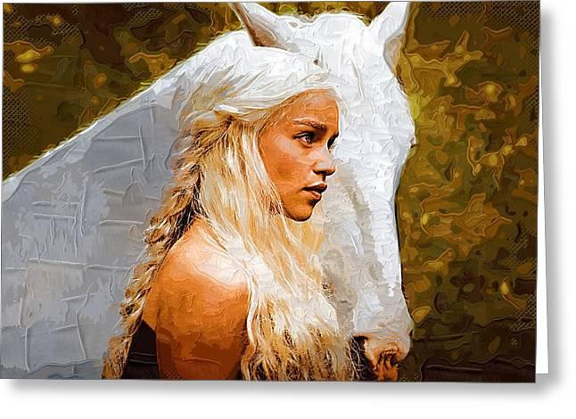 Game Digital Greeting Cards - Art Game Of Thrones Filming Greeting Card by Victor Gladkiy