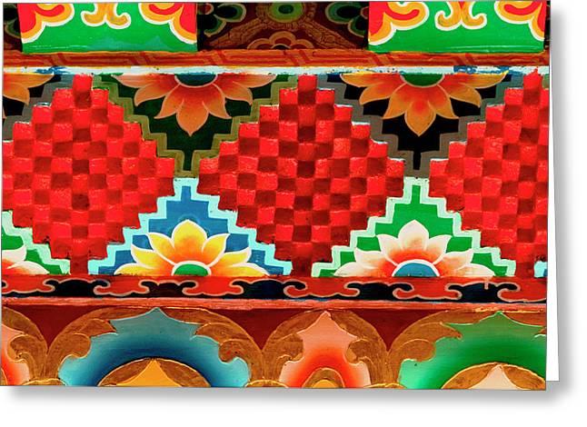 Art In Buddhist Monastery Architecture Greeting Card by Jaina Mishra
