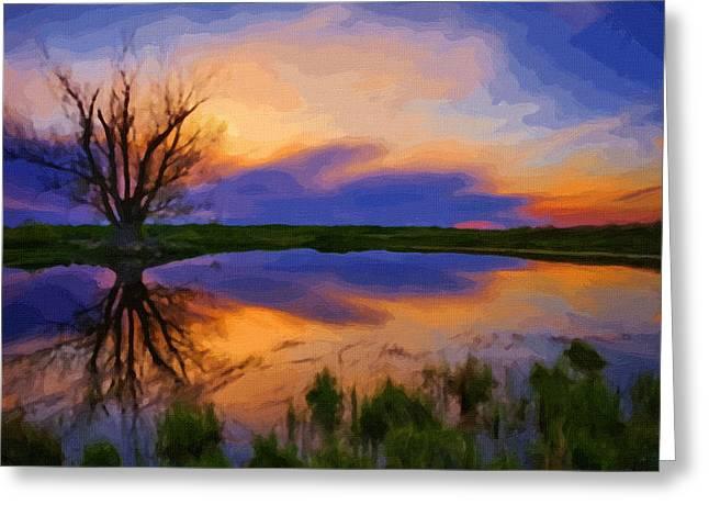 Landscape Framed Prints Greeting Cards - Art Landscape Greeting Card by Victor Gladkiy