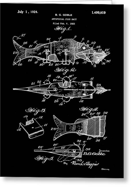 Fish Digital Art Greeting Cards - Artificial Bait Patent 1923 - Black Greeting Card by Stephen Younts