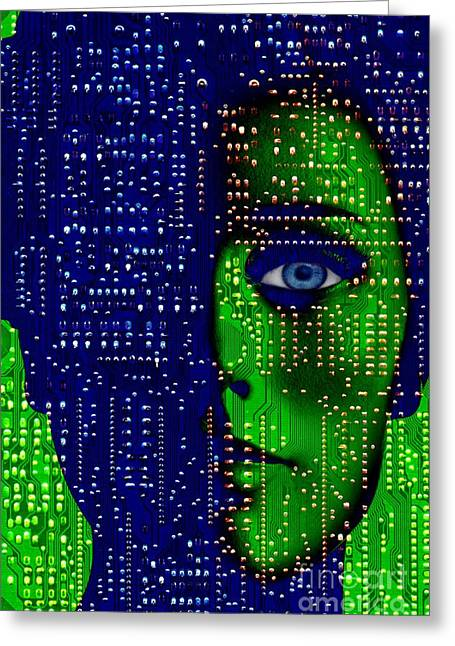 Recently Sold -  - Person Greeting Cards - Artificial Intelligence, Conceptual Image Greeting Card by Victor De Schwanberg