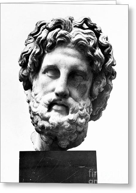 Statue Portrait Greeting Cards - Asklepios Greeting Card by Granger
