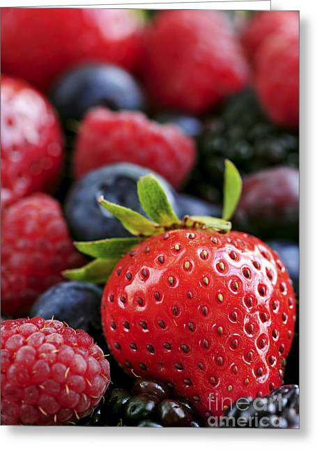 Organic Photographs Greeting Cards - Assorted fresh berries Greeting Card by Elena Elisseeva