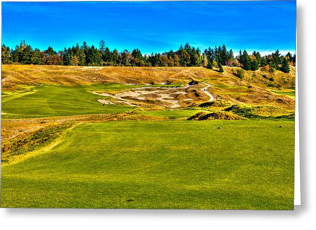 Us Open Golf Greeting Cards - #4 at Chambers Bay Golf Course - Location of the 2015 U.S. Open Championship Greeting Card by David Patterson