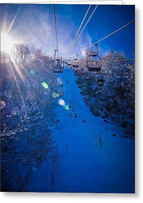 Sun Peaks Resort Greeting Cards - At The Ski Resort Greeting Card by Alexandr Grichenko