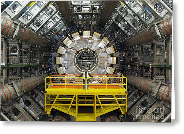 Lhc Greeting Cards - Atlas Detector, Cern Greeting Card by David Parker