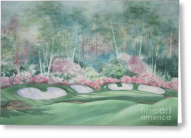Augusta National Golf Greeting Cards - Augusta National 13th Hole Greeting Card by Deborah Ronglien