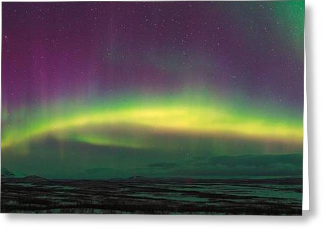 Snowy Night Greeting Cards - Aurora Borealis, Lapland, Sweden Greeting Card by Babak Tafreshi, Twan
