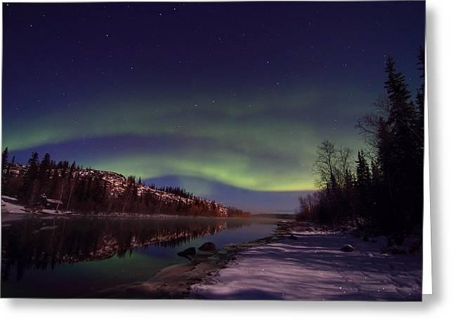 Northernlights Greeting Cards - Aurora Borealis Greeting Card by Seiji Iwaihara