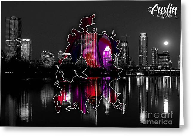 Austin Map And Skyline Watercolor Greeting Card by Marvin Blaine