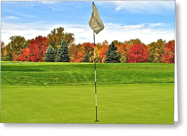 Us Open Golf Greeting Cards - Autumn Golf Greeting Card by Frozen in Time Fine Art Photography
