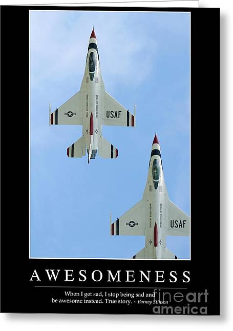 Awesomeness Greeting Cards - Awesomeness Inspirational Quote Greeting Card by Stocktrek Images