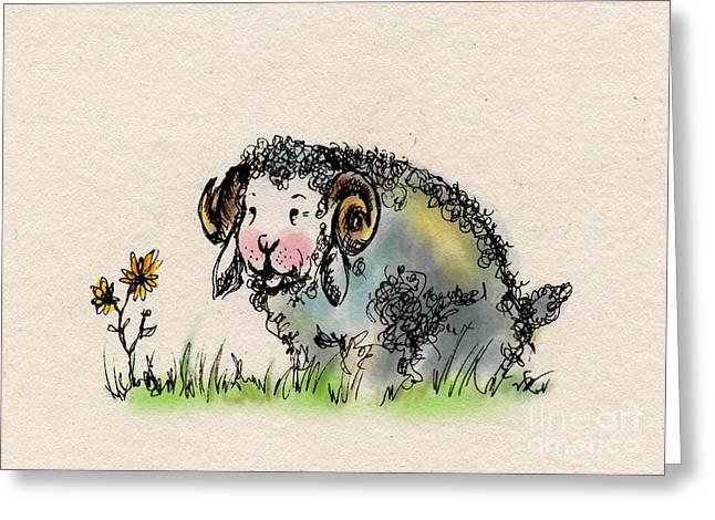 Sheep Drawings Greeting Cards - Baa Baa Greeting Card by Angel  Tarantella