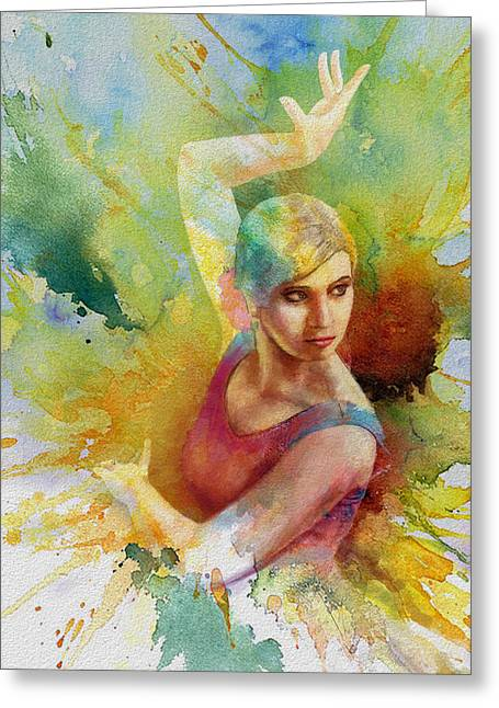 Ballet Dancers Paintings Greeting Cards - Ballet Dancer Greeting Card by Corporate Art Task Force