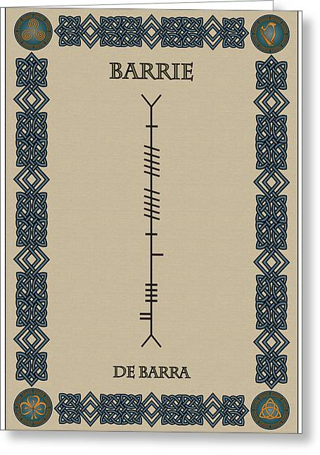 Barrie Greeting Cards - Barrie written in Ogham Greeting Card by Ireland Calling