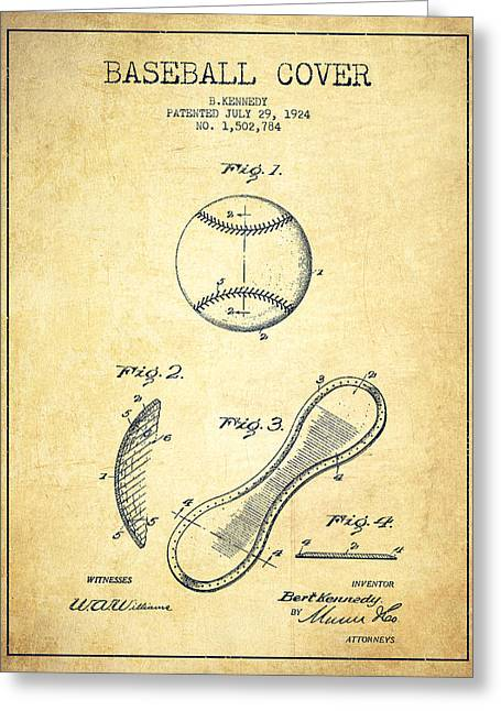 Baseball Bat Greeting Cards - Baseball Cover Patent Drawing From 1924 Greeting Card by Aged Pixel