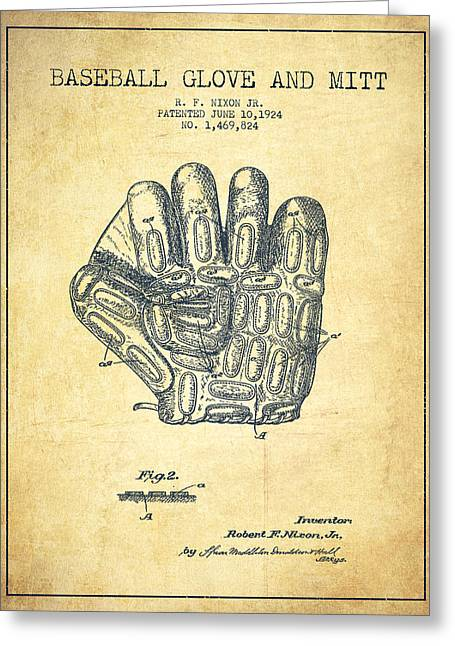 Baseball Glove Greeting Cards - Baseball Glove Patent Drawing From 1924 Greeting Card by Aged Pixel