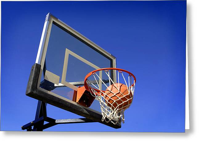 Basket Ball Game Greeting Cards - Basketball Shot Greeting Card by Lane Erickson