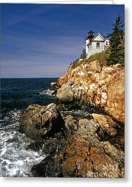 Bass Head Lighthouse Greeting Cards - Bass Harbor Head Lighthouse Greeting Card by Skip Willits