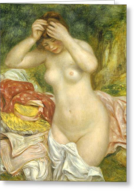 Baigneuses Greeting Cards - Bather Arranging her Hair Greeting Card by Pierre Auguste Renoir