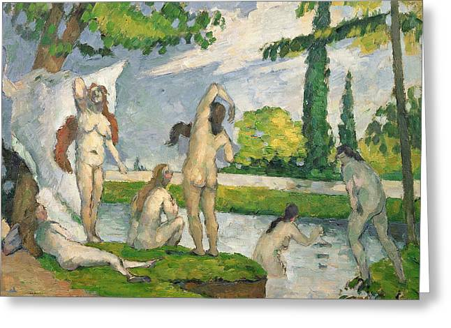 Baigneuses Greeting Cards - Bathers Greeting Card by Paul Cezanne