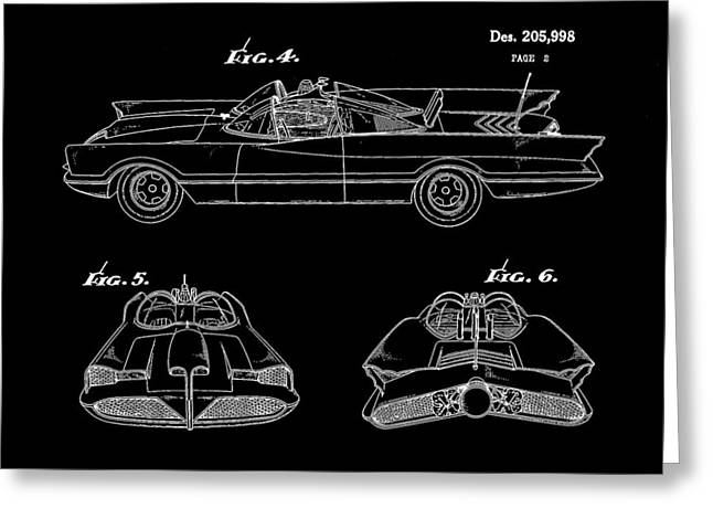 Caped Crusader Greeting Cards - Batmobile Patent 1966 - Black Greeting Card by Stephen Younts