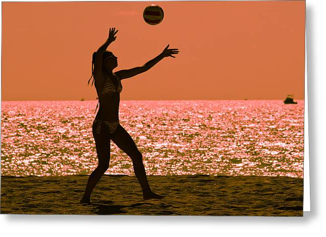 Mid Summer Morning Greeting Cards - Beach volleyball Greeting Card by Celso Diniz