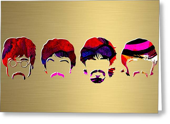 Gold Art Greeting Cards - Beatles Gold Series Greeting Card by Marvin Blaine