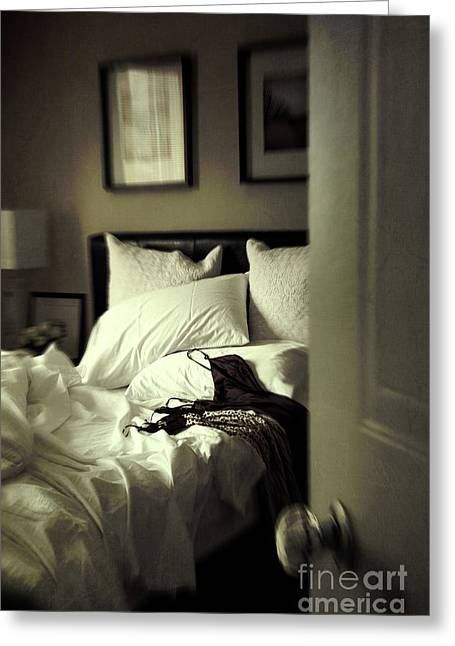 Waiting Photographs Greeting Cards - Bedroom scene with under garments on bed Greeting Card by Sandra Cunningham