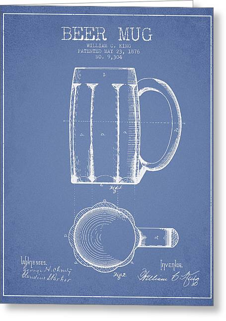 Barrel Greeting Cards - Beer Mug Patent from 1876 - Light Blue Greeting Card by Aged Pixel