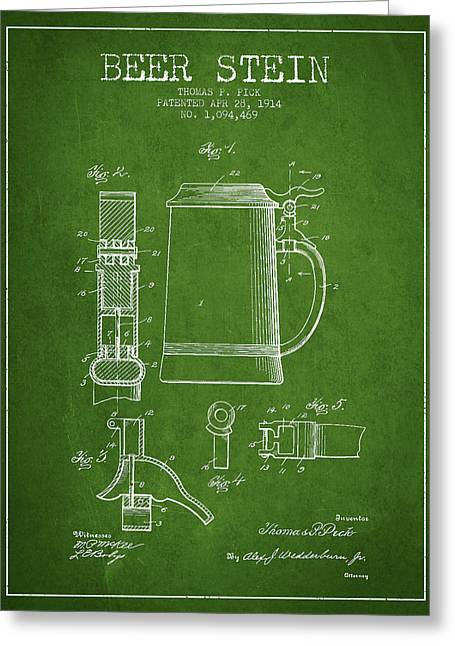 Barrel Greeting Cards - Beer Stein Patent from 1914 - Green Greeting Card by Aged Pixel