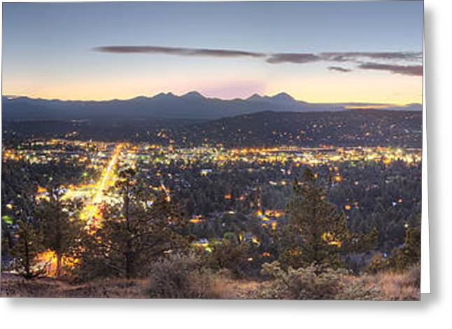Mt Bachelor Greeting Cards - Bend from Pilot Butte in Evening Greeting Card by Twenty Two North Photography