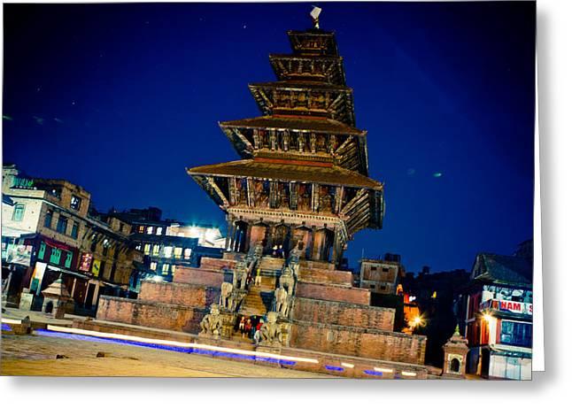 Tibetan Buddhism Greeting Cards - BHAKTAPUR City of Devotees Artmif.lv Greeting Card by Raimond Klavins