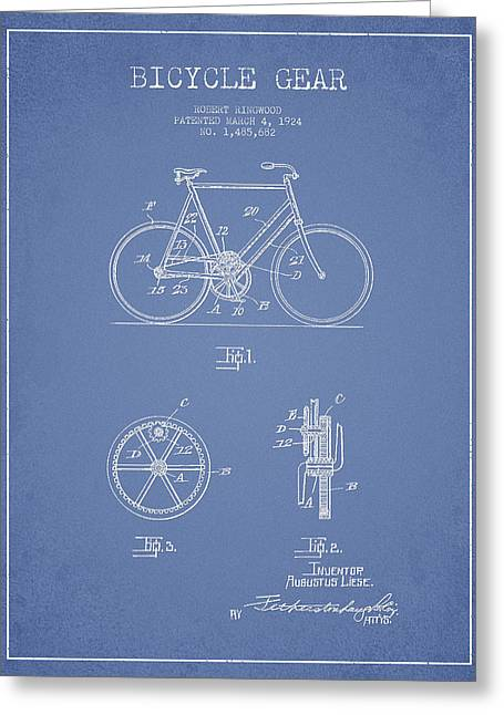 Vintage Bicycle Greeting Cards - Bicycle Gear Patent Drawing from 1922 - Light Blue Greeting Card by Aged Pixel