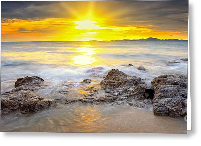 Big Wave And The Rock With Sunset Sky Greeting Card by Anek Suwannaphoom