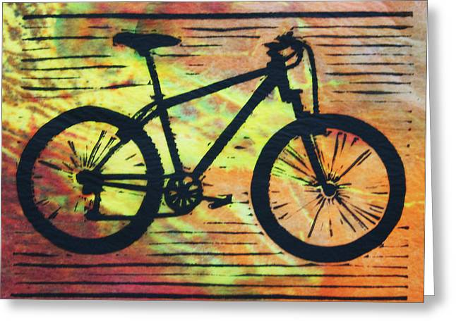 Linocut Greeting Cards - Bike 10 Greeting Card by William Cauthern